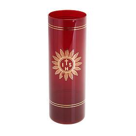 Osłona do świecy rubinowe szkło s1