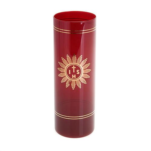 Osłona do świecy rubinowe szkło 1