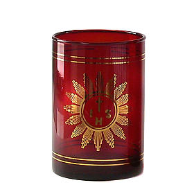 Osłonka do świecy rubinowe szkło s1