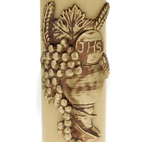Decorative Altar Candle with Bas Relief, 8 cm diameter 3