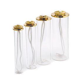 Cartouche en verre et laiton pour bougies à cire liquide s1