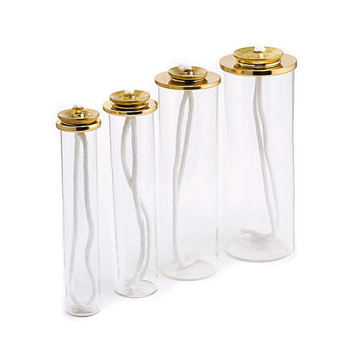 Cartouche en verre et laiton pour bougies à cire liquide 1