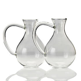 Pair of cruets in hand-blown glass s1