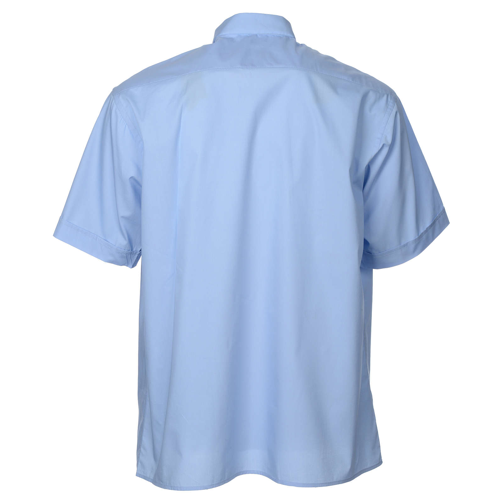 STOCK Light blue popeline clergyman shirt, short sleeves 4