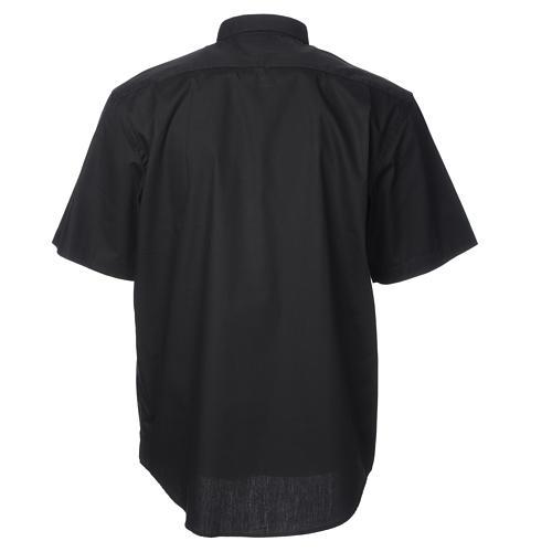 STOCK Black popeline clergyman shirt, short sleeves 2