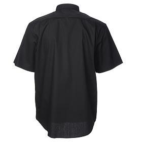 STOCK Camicia clergy manica corta popeline nera s2