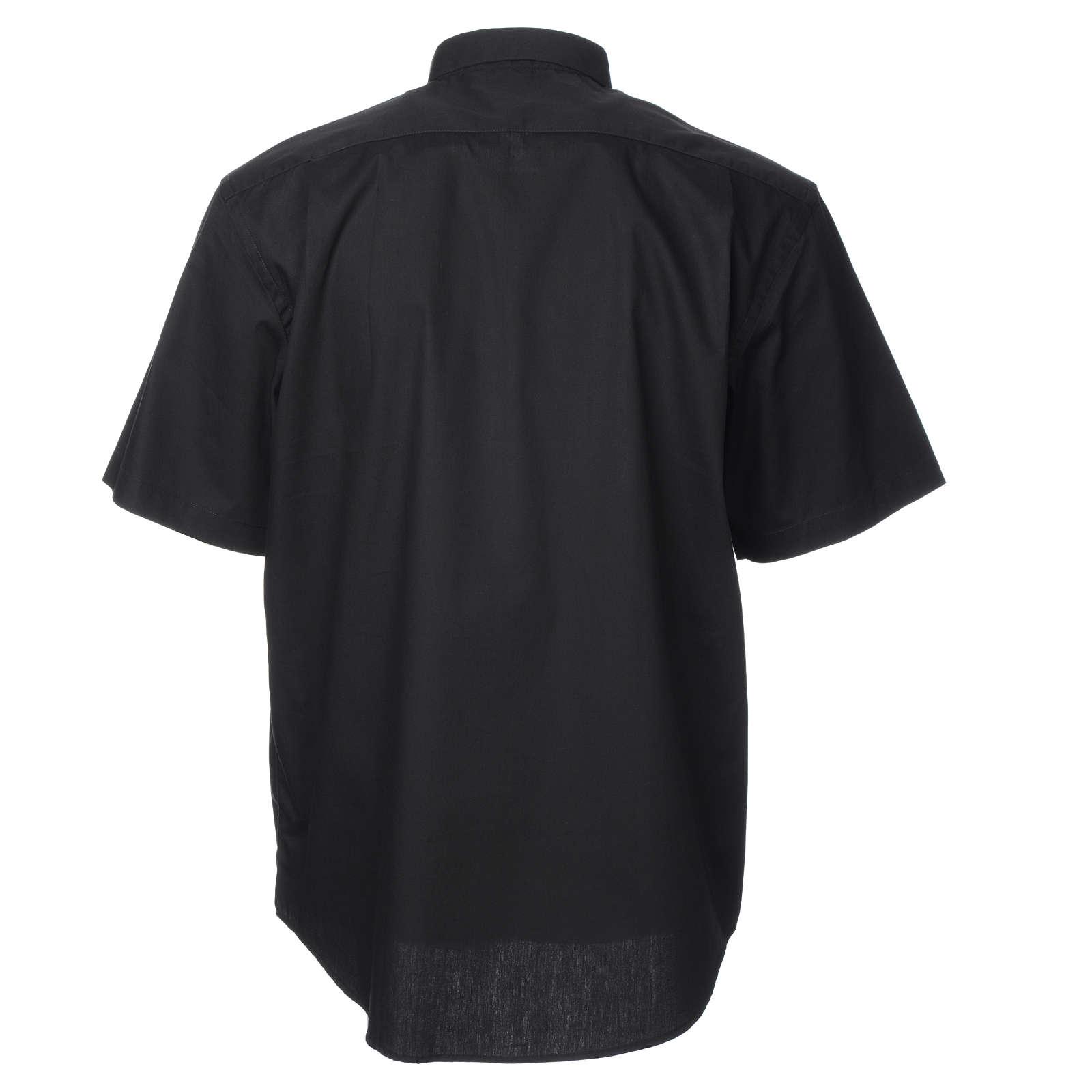 STOCK Black popeline clergyman shirt, short sleeves 4