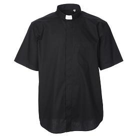 STOCK Black popeline clergyman shirt, short sleeves s1