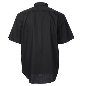 STOCK Black popeline clergyman shirt, short sleeves s2