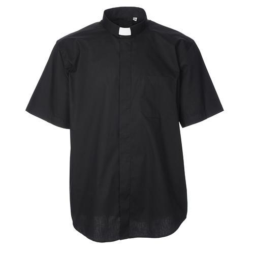 STOCK Black popeline clergyman shirt, short sleeves 1