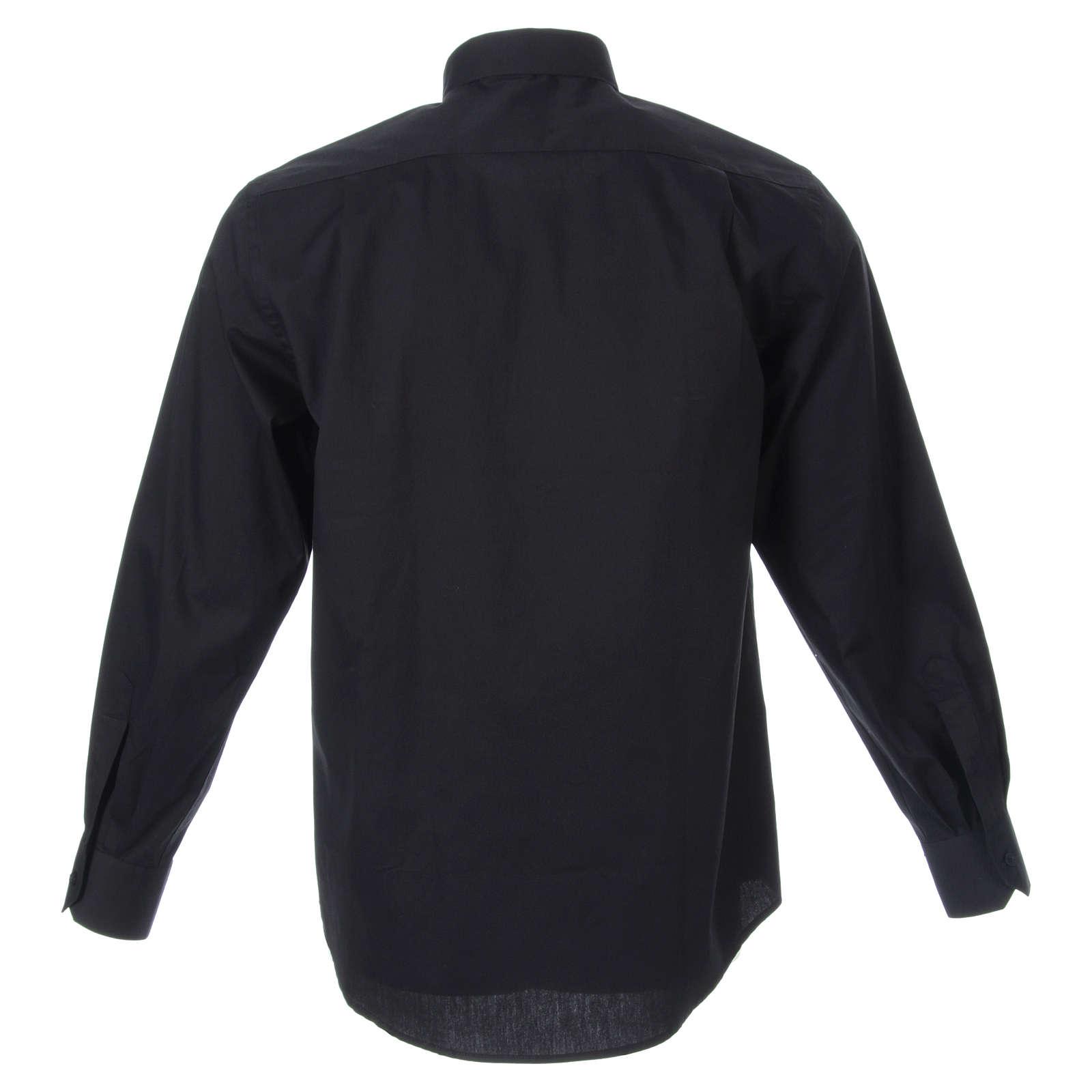STOCK Camisa clergy de popelina manga larga negra 4