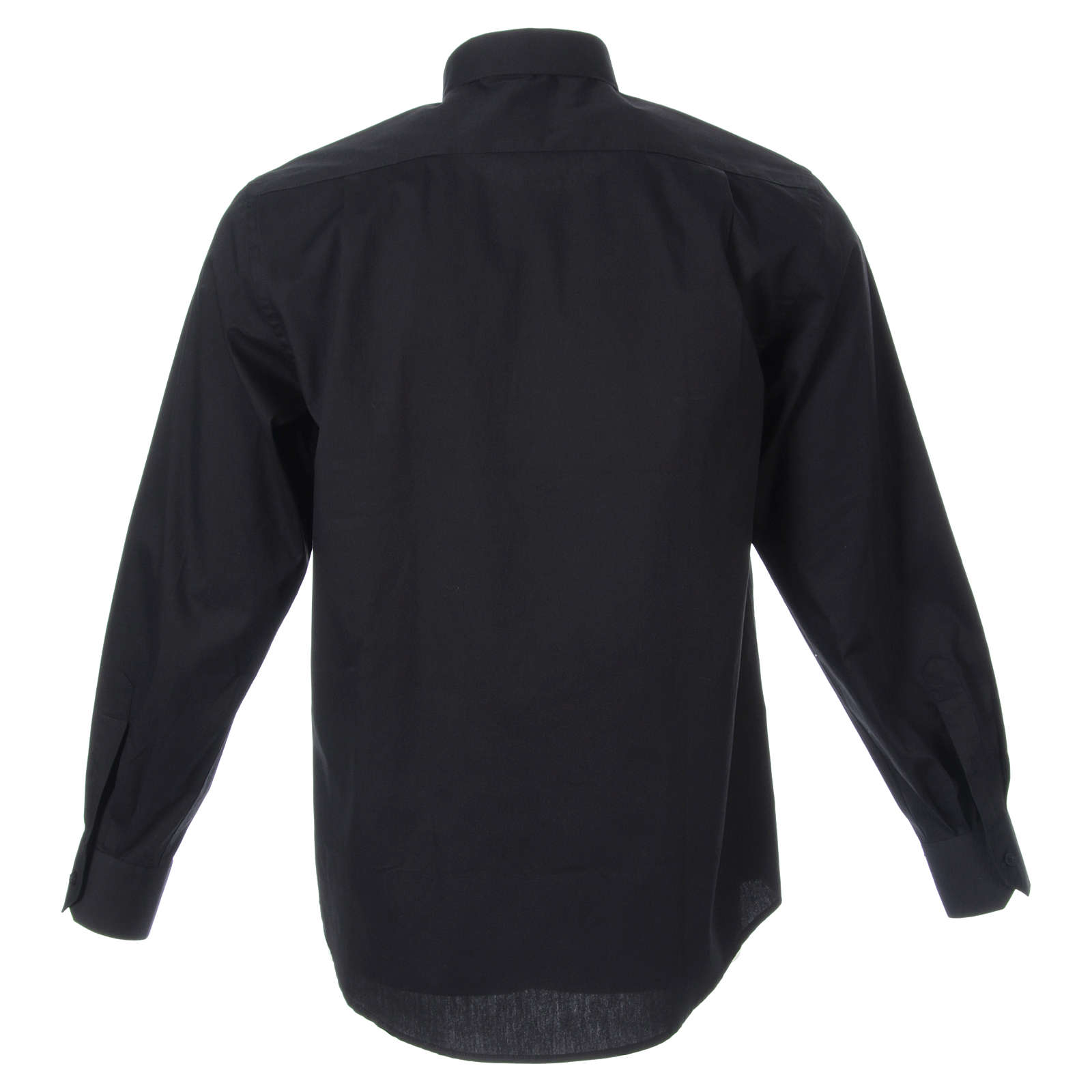 STOCK Clergyman shirt, long sleeves in black popeline 4