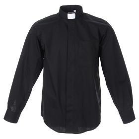 STOCK Clergyman shirt, long sleeves in black popeline s1