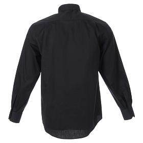 STOCK Clergyman shirt, long sleeves in black popeline s2