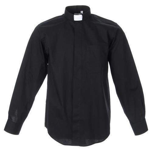 STOCK Clergyman shirt, long sleeves in black popeline 1