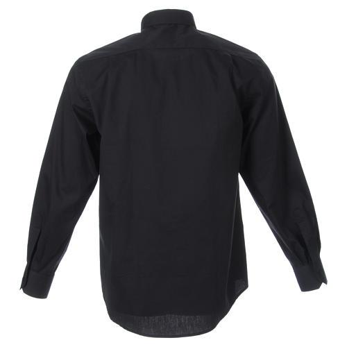 STOCK Clergyman shirt, long sleeves in black popeline 2