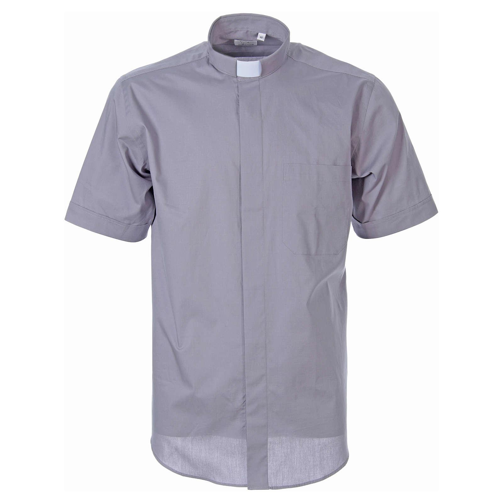 STOCK Camicia clergy manica corta popeline grigio chiaro 4