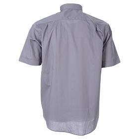 STOCK Camicia clergy manica corta popeline grigio chiaro s2