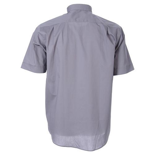 STOCK Camicia clergy manica corta popeline grigio chiaro 2