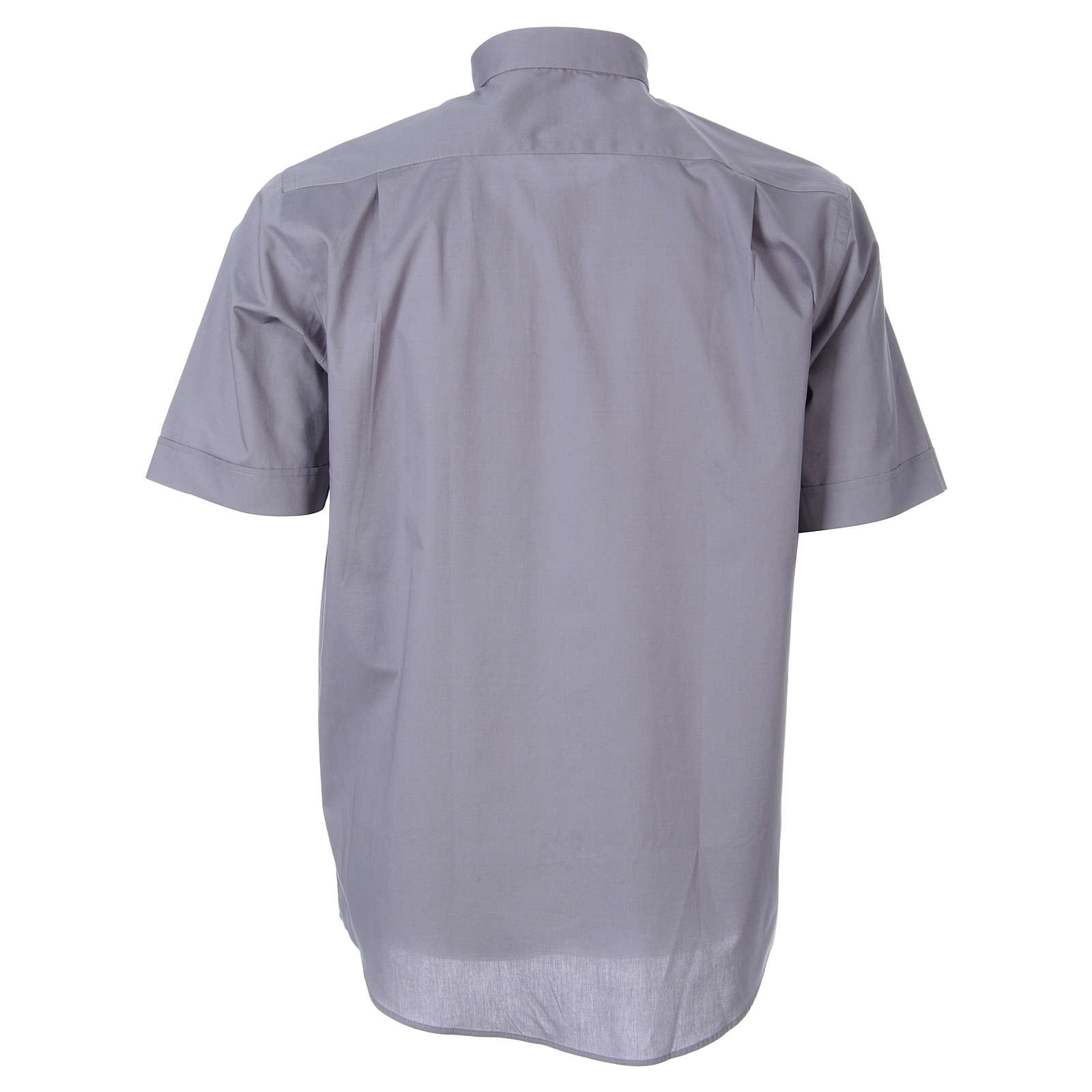 STOCK Koszula kapłańska krótki rękaw popelina jasnoszara 4