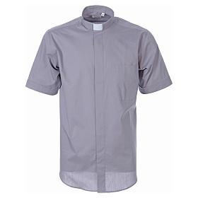 STOCK Koszula kapłańska krótki rękaw popelina jasnoszara s1
