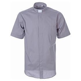 STOCK Light grey short sleeve clergy shirt, poplin s1