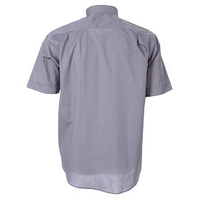 STOCK Light grey short sleeve clergy shirt, poplin s2