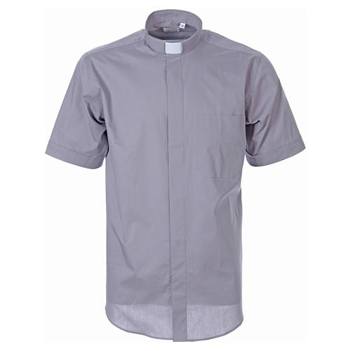 STOCK Light grey short sleeve clergy shirt, poplin 1