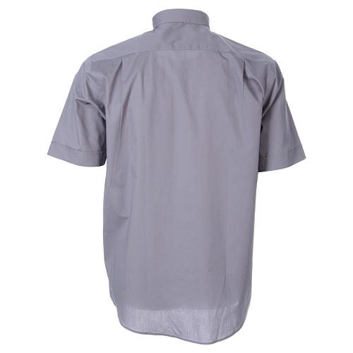 STOCK Light grey short sleeve clergy shirt, poplin 2