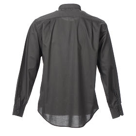 STOCK Clergy shirt, long sleeves in dark grey mixed cotton s2