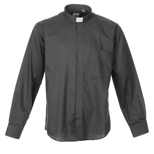 STOCK Clergy shirt, long sleeves in dark grey mixed cotton 1