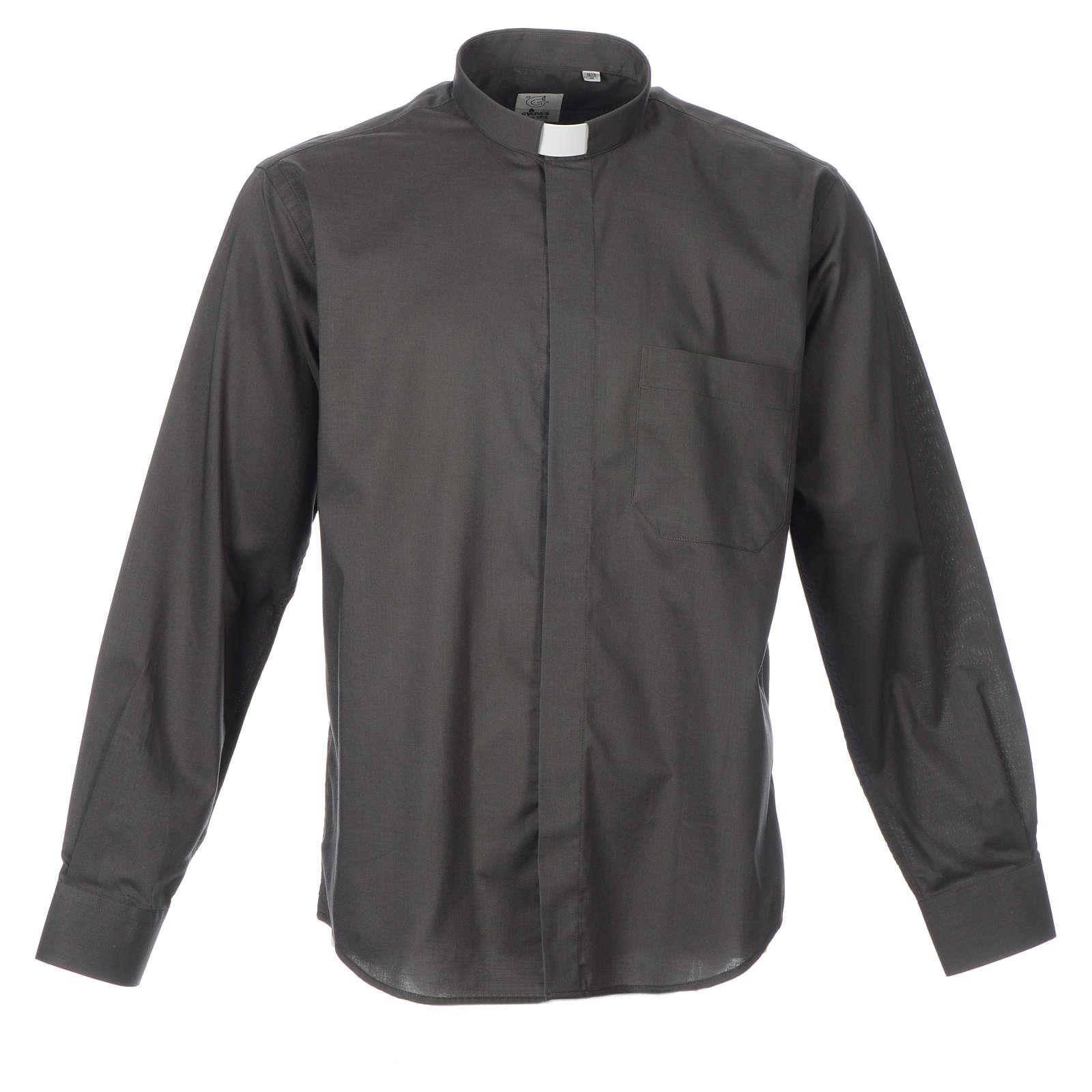 STOCK Camicia clergyman manica lunga misto grigio scuro 4