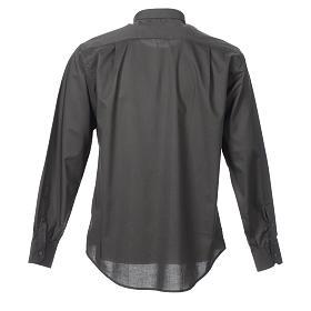 STOCK Camicia clergyman manica lunga misto grigio scuro s2