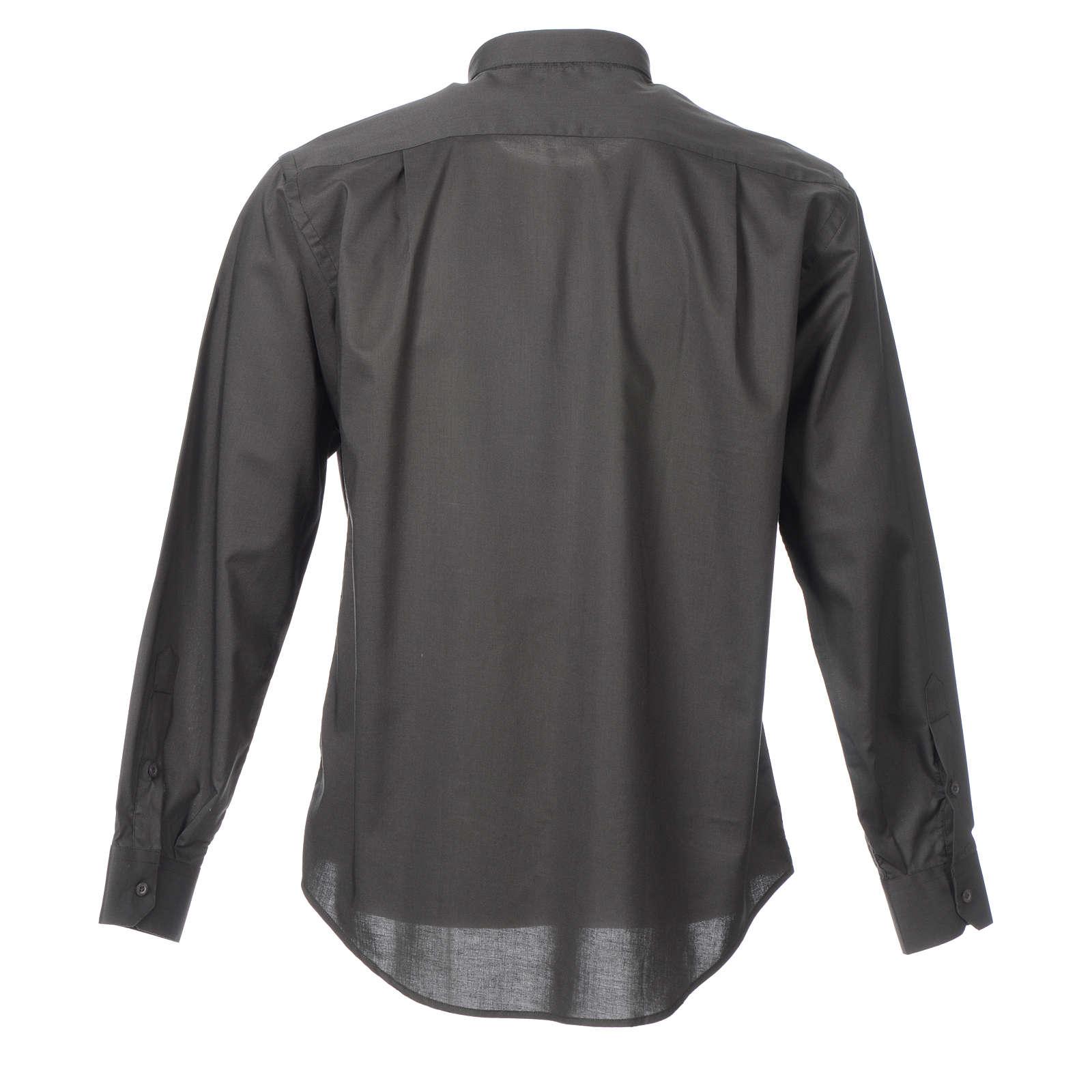 STOCK Camisa clergyman manga longa misto cinzento escuro 4