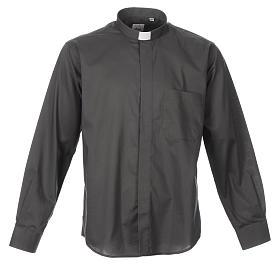 STOCK Camisa clergyman manga longa misto cinzento escuro s1