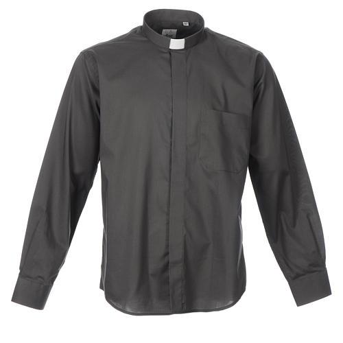 STOCK Camisa clergyman manga longa misto cinzento escuro 1