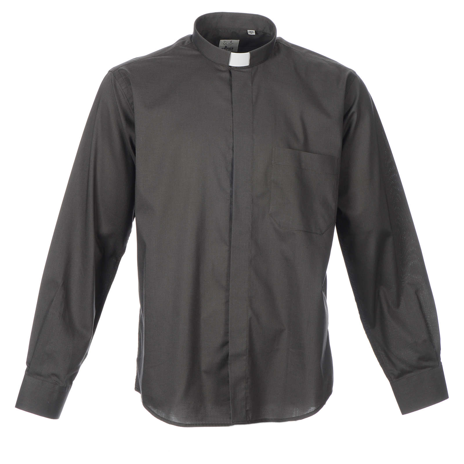 STOCK Clergy shirt, long sleeves in dark grey mixed cotton 4