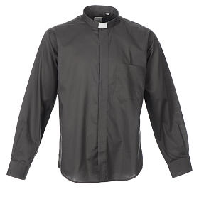 STOCK Clergy shirt, long sleeves in dark grey mixed cotton s1