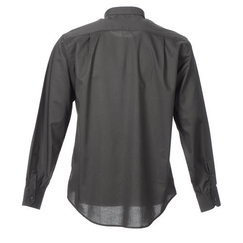 STOCK Clergy shirt, long sleeves in dark grey mixed cotton 2