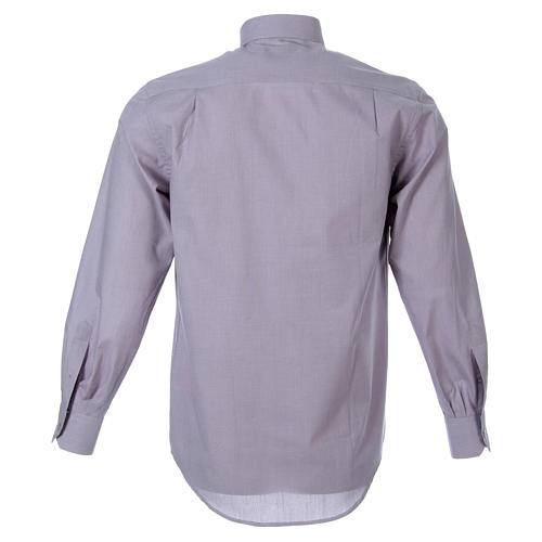STOCK Clergyman shirt in light grey fil a fil cotton, long sleeves 2