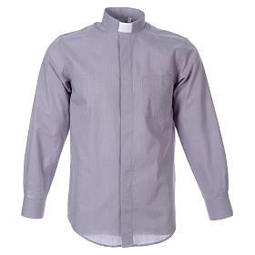 STOCK Camisa manga larga Fil a Fil gris claro s1