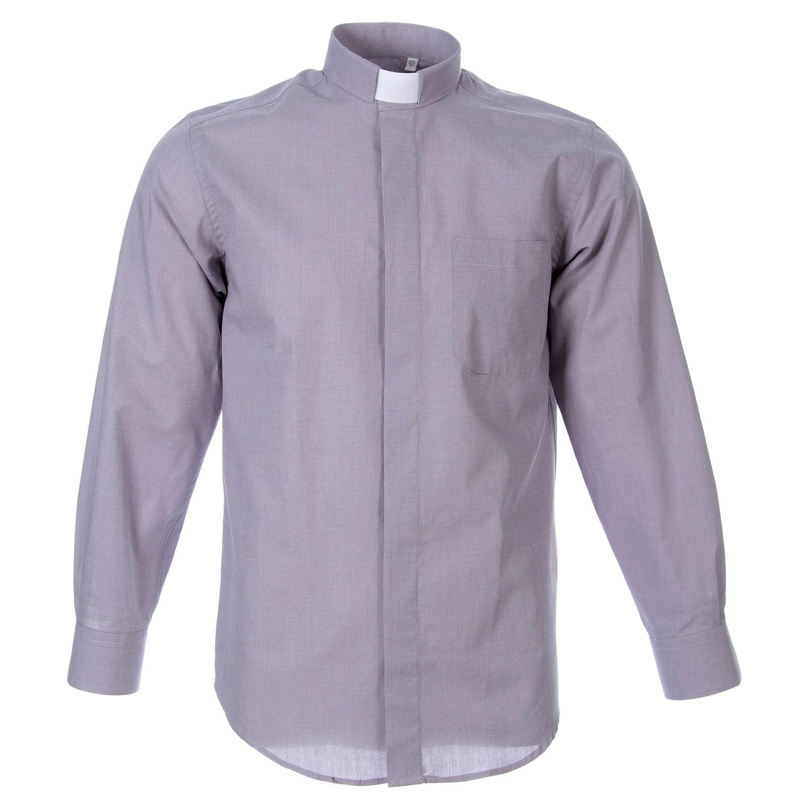 STOCK Camisa clergyman manga longa filafil cinzento claro 4