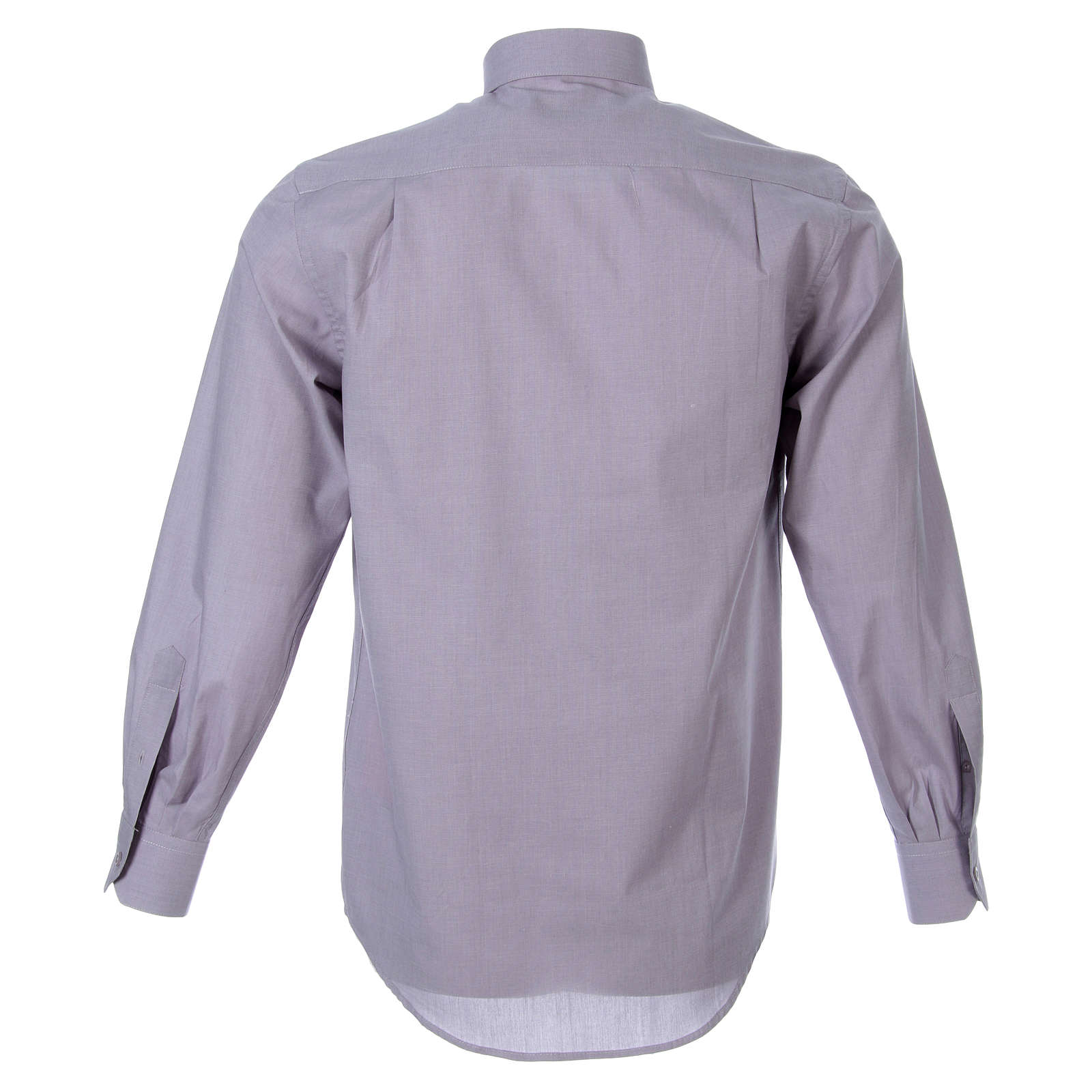 STOCK Clergyman shirt in light grey fil a fil cotton, long sleeves 4