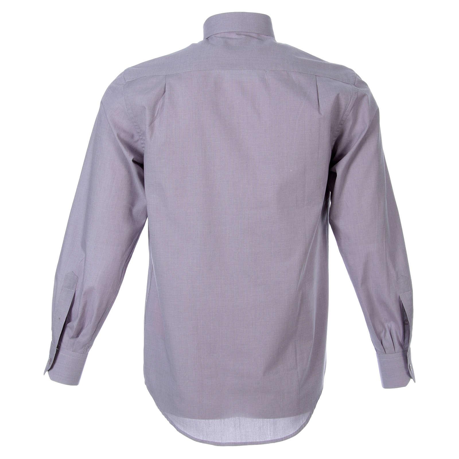 STOCK Clergyman shirt in light grey fil a fil cotton, long sleeves 4