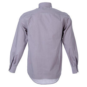 STOCK Clergyman shirt in light grey fil a fil cotton, long sleeves s2
