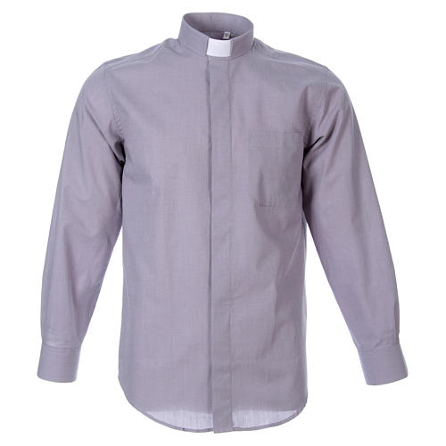 STOCK Clergyman shirt in light grey fil a fil cotton, long sleeves 1
