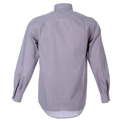 STOCK Clergyman shirt in light grey fil a fil cotton, long sleeves 2