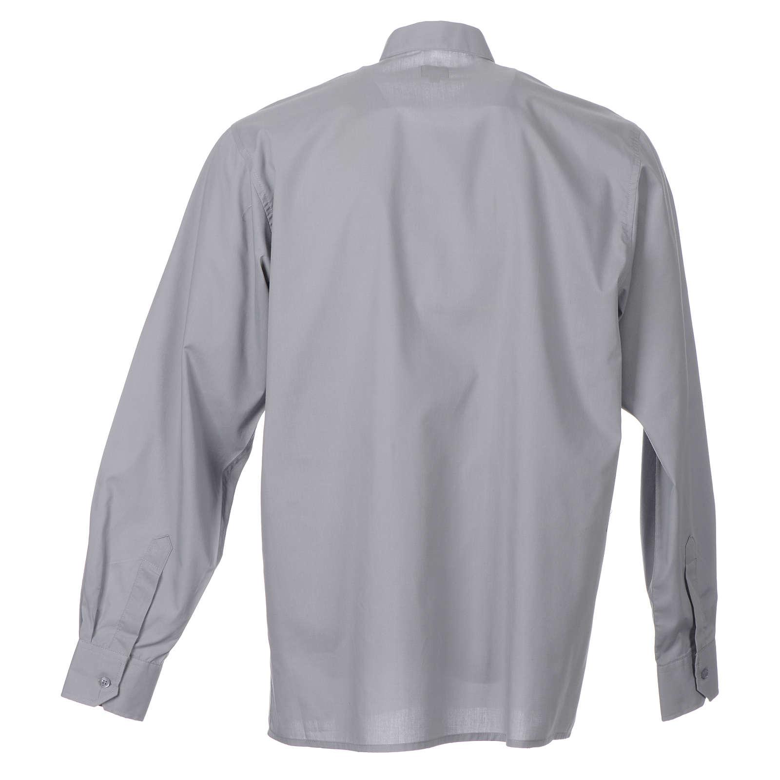 STOCK Camicia clergyman manica lunga popeline grigio chiaro 4