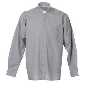 STOCK Camicia clergyman manica lunga popeline grigio chiaro s1