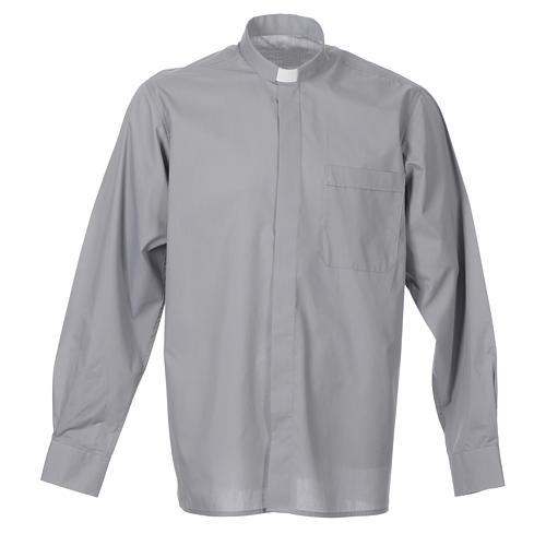 STOCK Camicia clergyman manica lunga popeline grigio chiaro 1